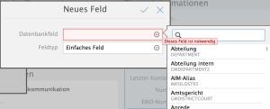 App-Designer-Anpassungsoptionen neues Feld